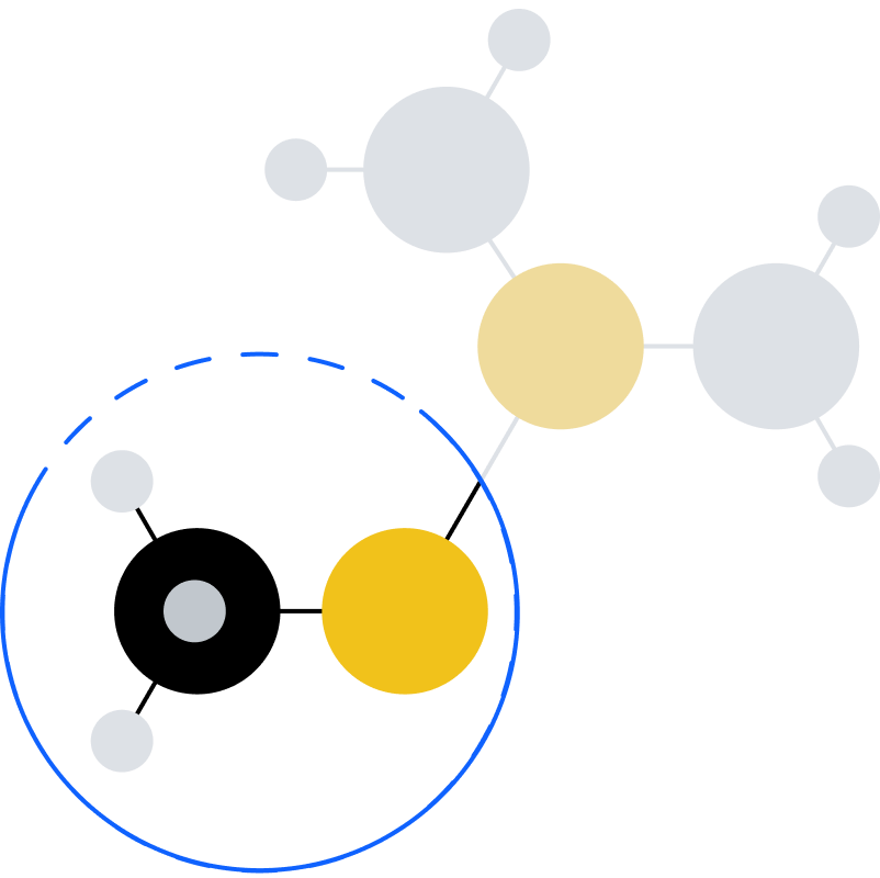 Graphic that shows molecular relationships